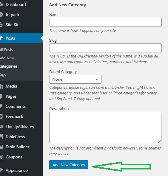 set up wordpress category setting