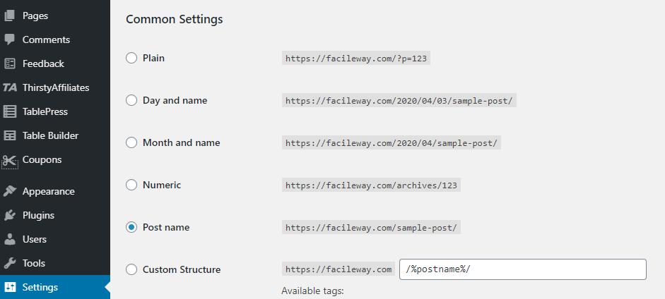 permalink setting for wordpress site