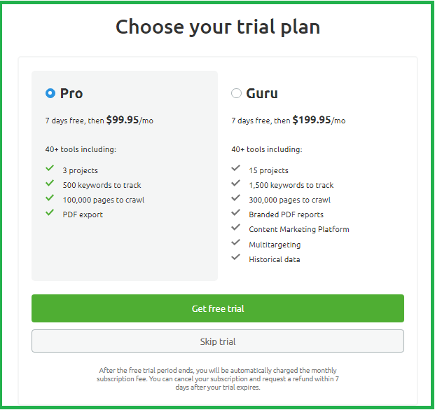 how to get semrush free trial