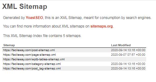XML sitemap for SEO