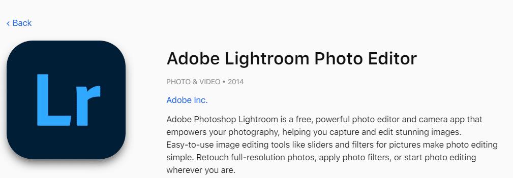 Adobe lightroom photo editor for Instagram