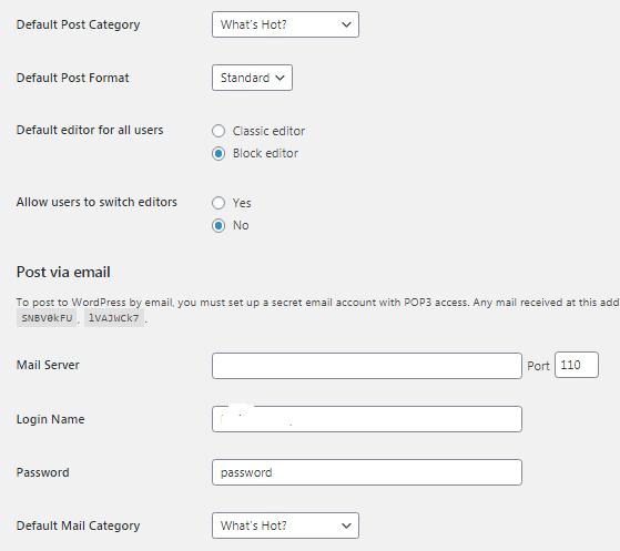 Configure WordPress Setting