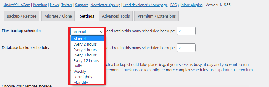 setting an automatic WordPress site backup
