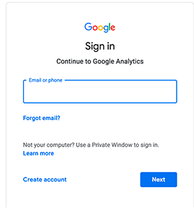 Sign up for Google Analytics Account
