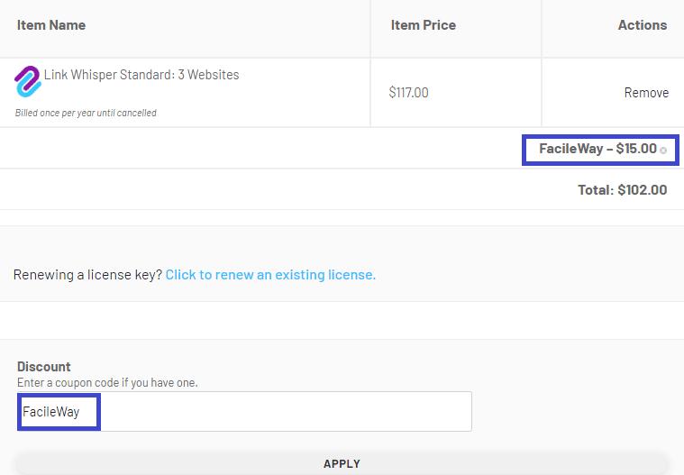 Link Whisper discount code