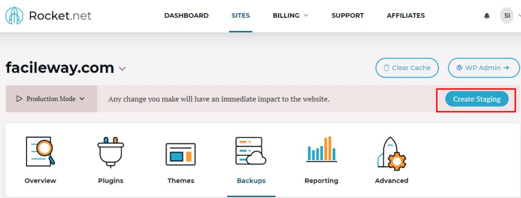 Rocket.net site staging