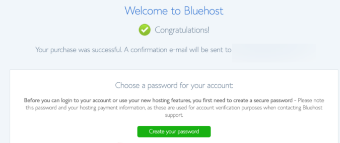 Create password for bluehost
