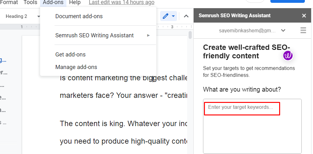 SEMRush SEO Writing Assistant WordPress plugin float mode